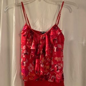 Express camisole red floral design women's sz S